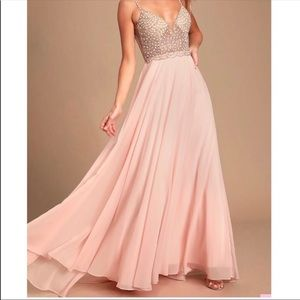 Lulu's True Love Blush Pink Beaded Maxi Dress